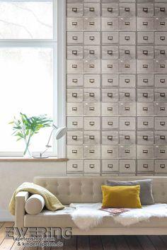 Splendour 09   Die Graue Tapete Mit Postbox Motiv Wirkt Kreativ In Ihrem  Wohnzimmer.