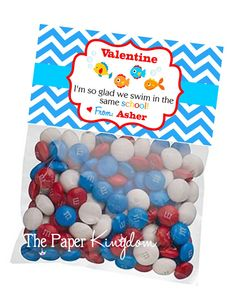 Printable Valentine Bag toppers Fish Treat Bag by thepaperkingdom