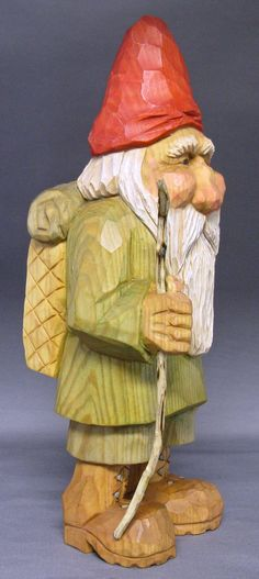gnome elf hiker Christmas Santa woodcarving Nordic by cjsolberg