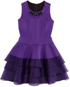 Zoe Ruffle-Tiered Jewel-Detailed Scuba Dress, Sizes 2-6X: Oh! the best easter outfit!