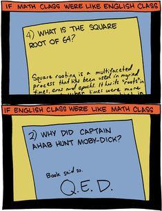 If math class were like literature class & vice versa, SMBC, by Zach Weiner