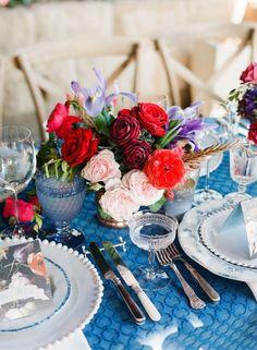Photographer: Corbin Gurkin Photography; Chic blue wedding reception decor idea;