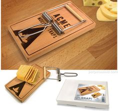 OH, SNAP! CHEESE BOARD & CUTTER    $17.99 Oh Snap! Finally, someone's built a cheddar mousetrap! It's a really nice 9 inch x 5 inch beechwood cheeseboard that comes with a handy stainless-steel cheese slicer, and its all disguised as a giant mousetrap. Pretty cute, huh?!     This ones makes us squeak with glee.