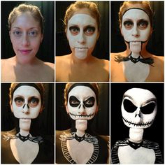 Woman's clever Jack Skellington Halloween makeup