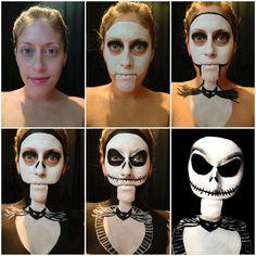 Woman's clever Jack Skellington Halloween makeup