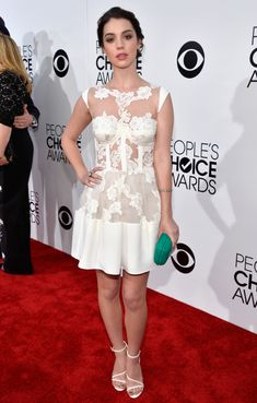 Teen Wolf and Reign star Adelaide Kane looked simply lovelin in this sheer and lace white dress