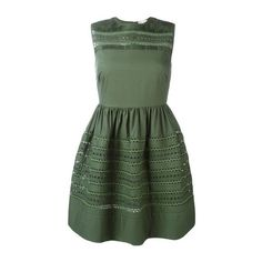 VALENTINO RED Zagana-Ribbon 'Bambolina' Embroidered Dress (540 AUD) ❤ liked on Polyvore featuring dresses, green, army green dress, embroidery dress, ribbon dress, olive dress and green embroidered dress