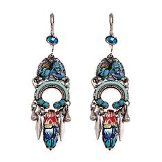 Gorgeous drop-earrings in turquoise tones. Intricately designed with fabric and crystals and finished off beautifully with soft metal tassels.
