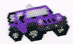 Hand Beaded Purple Jeep earrings by on Etsy Beading Patterns Free, Seed Bead Patterns, Stitch Patterns, Fuse Beads, Beads And Wire, Perler Beads, Beading Projects, Beading Tutorials, Seed Bead Crafts