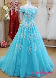 Off Shoulder Long Tulle Prom Dresses Lace Appliques Women Dresses PD20189233