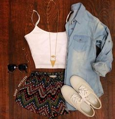 Cute summer outfit jean button up and colorful shorts