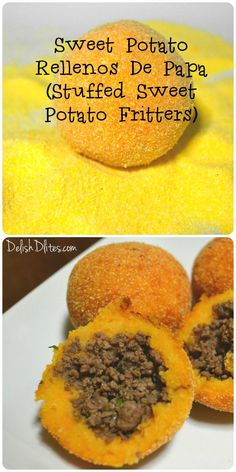 Sweet Potato Rellenos De Papa (Stuffed Sweet Potato Fritters) <br> Rellenos de papa are a traditional Puerto Rican fritter, and they happen to be my all time favorite crunchy snack whenever I visit the island. Typically, they're made with white Puerto Rican Recipes, Mexican Food Recipes, Beef Recipes, Cooking Recipes, Healthy Recipes, Papa Rellena Recipe Puerto Rican, Spanish Food Recipes, Puerto Rican Mofongo, Puerto Rican Beans