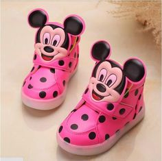 Tiny Baby Shoes | Mikey Mouse Pink LED High Tops