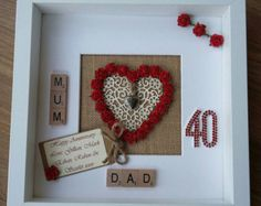 Personalised Ruby Wedding Anniversary by ScrabbleArtbyLou - Hochzeit - Spousal Scrabble Crafts, Scrabble Wall Art, Scrabble Frame, Scrabble Wedding, Ruby Wedding Anniversary Gifts, Anniversary Parties, Anniversary Cards, Second Anniversary, Anniversary Ideas