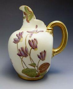 Antique 19thC Royal Worcester Jug Pitcher Porcelain Hand Painted Flat Back 1890 #RoyalWorcester