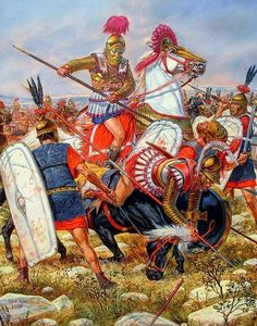 Another image of the battle of Magnesia 190BC. Fought between the Seleucid empire under Antiochus III 'The Great' against the forces of Lucius Cornelius Scipio and his brother Publius Cornelius Scipio Africanus, the victor of Zama.