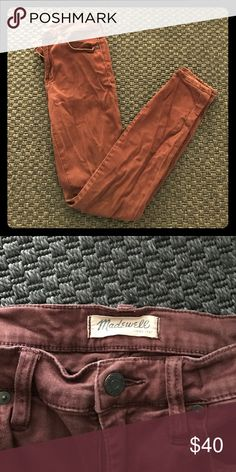 Madewell Maroon High Riser Bought from another Posher and they are a little too big. Good condition, no rips or tears. 9 inch high rise waist. Madewell Jeans Skinny