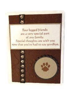 Pet Sympathy Card Loss of Pet Card by lilaccottagecards on Etsy