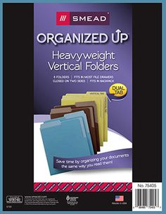 "No more neck cramps from turning your head sideways to rsee documents in old-fashioned file folders. Smead's ""Organized Up"" line of filing solutions is designed to store documents vertically, the way you use them.  Vertical options include hanging folders, file folders and storage."