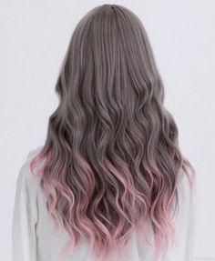Silver hair with pink dip-dyed ends