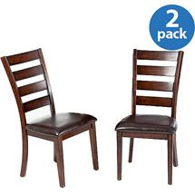 Walmart: Imagio Home by Intercon Kailua Ladderback Side Chair with Cushion Seat, Set of 2, Distressed Raisin