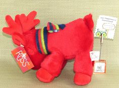 Grog RED REINDEER New Tags Stuff Plush Animal Stripe Scarf Christmas Russ Berrie #Russ