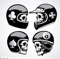 Skull with helmet collection Premium Vector Biker Tattoos, Motorcycle Tattoos, Motorcycle Posters, Motorcycle Art, Skull Helmet, Helmet Tattoo, Harley Davidson Decals, Helmet Drawing, Tool Tattoo