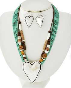 Antique Matte Silver Tone Metal / Turquoise Seed Beads & Brown Wood / Lead&nickel Compliant / Multi Strand / Heart Necklace & Fish Hook Earring Set