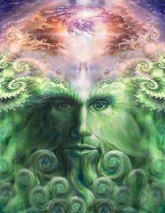 Earth Guardian.  Digital Sacred Art by Forrest Boden. Available at Ecoartopia.org and http://www.redbubble.com/people/ecoartopia/portfolio  Earth Day. Earth. God. Green Man. Pagan. Celtic. Meditation.  Sacred. Spiritual. Art.  Father's Day. Earth Day. Third Eye. 6th Chakra. 7th Chakras. Fractal geometry. Photoshop. Adobe Illustrator. Green. Violet.