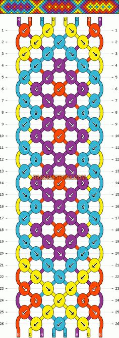 diamond geometric multicolored friendship bracelet pattern 8 strand 4 color