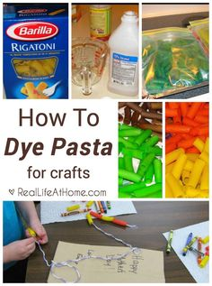 Step by step tutorial for dying pasta for pasta crafts to use with kids.