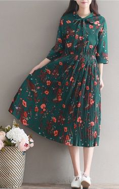 Women loose fit plus over size retro flower dress maxi skater skirt fashion chic #unbranded
