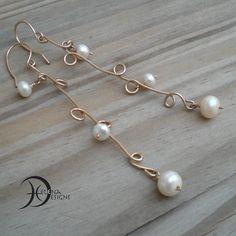 Real pearl earrings Wire art earrings Artisan by Helenadesignsart