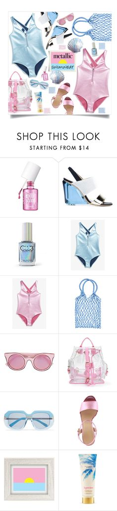 """""""metallic swimwear"""" by mmk2k ❤ liked on Polyvore featuring Benefit, Monique Lhuillier, Color Club, Monki, Fendi, Karen Walker, Gucci, Urban Outfitters, Victoria's Secret and Summer"""