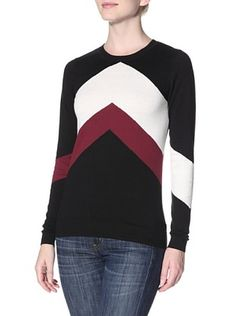 50% OFF Kier & J Women's Zig Zag Sweater (Black/White/Oxblood)