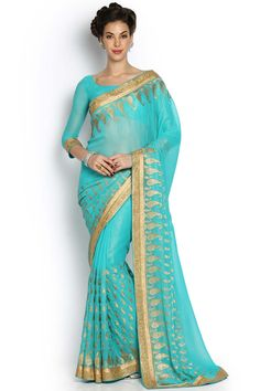 Teal & Gold-Toned Viscose Saree -