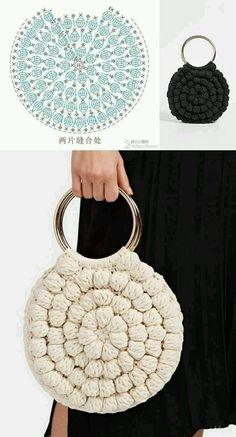 Crochet Handbags, Crochet Purses, Crochet Bag Tutorials, Crochet Projects, Crochet Designs, Crochet Patterns, Free Crochet Bag, Crochet Bags, Macrame Bag