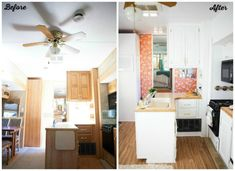fifth wheel RV remodel before and after photo of kitchen counter and cabinets