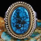 Sammie Begay Candelaria Spiderweb Turquoise 18K Gold Over Sterling Silver Ring