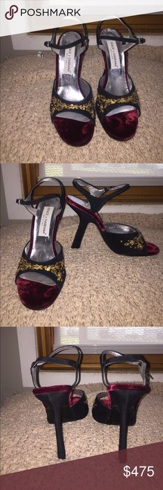 Dolce & Gabbana heeled sandals size 40 Authentic Dolce & Gabbana heeled sandals. Beautiful craftsmanship. Never worn, in excellent condition. Sandals are black and sole is a burgundy velvet. Bought in Neimans Marcus Dolce & Gabbana Shoes Sandals
