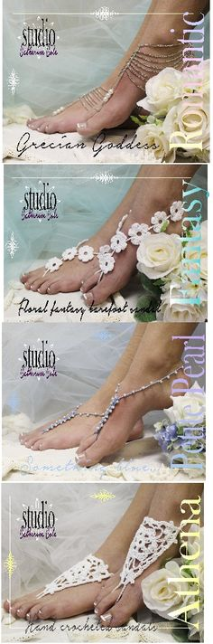 "So many beautiful barefoot sandal styles for your 2015 beach wedding! How will you choose?  See more at Catherine Cole wedding, foot jewelry, beach wedding, bridal ""PIN this pretty for later!'"