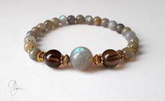 Labradorite & Smoky Quartz Bracelet Semi-precious Gemstone
