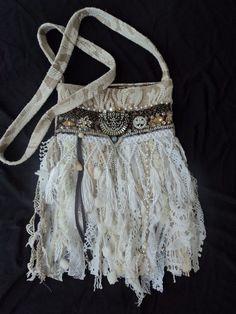 (263) Handmade Denim CrossBody Bag Boho Hippie Purse Beaded Leather Fringe Lace tmyers