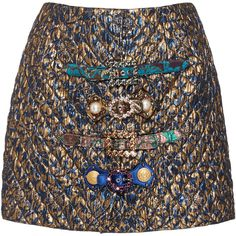 Dolce & Gabbana Metallic Mini Skirt (7.165 RON) ❤ liked on Polyvore featuring skirts, mini skirts, multi, mini skirt, short skirts, embellished skirts, dolce gabbana skirt and embellished mini skirt