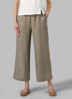 Linen Relaxed Crop Pants