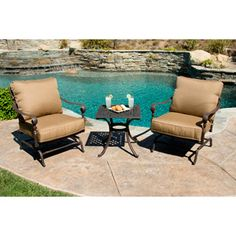 Better Homes and Gardens Lake in the Woods 3-Piece Rocking Outdoor Bistro Set, Seats 2
