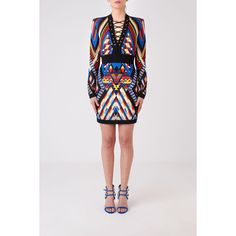 Balmain Balmain Multicolor Printed Dress ($2,010) ❤ liked on Polyvore featuring dresses, multicolor, long sleeve dresses, short skirts, cross strap dress, mini skirt dress and multi colored dress