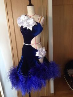 royal blue feather velvet latin dress with white floral motifs