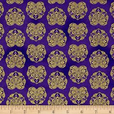 Kaufman Valley of the Kings Metallic Geo Jewel from @fabricdotcom  Designed by Studio RK for Robert Kaufman, this cotton print collection is made in japan and features elegant metallic accents. Perfect for quilting, apparel, and home decor projects. Colors include purple and metallic gold.