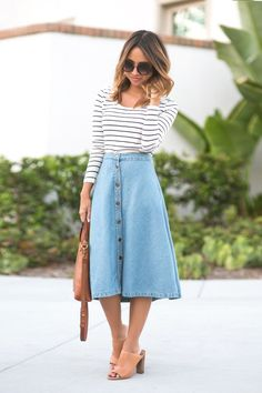 DENIM MIDI SKIRT[[MORE]] DETAILS Photography – Jason Huang Denim Midi Skirt – Morning Lavender find darker version HERE, Top – Nordstrom, Sunglasses – Nordstrom, Tote – Madewell, Shoes – Vince Camuto....- Tap the link now to see our super collection of accessories made j